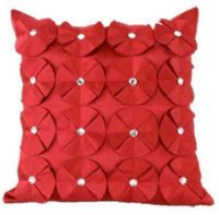 3D SHINY DIAMANTE CIRCLED RUFFLE DESIGNER FILLED CUSHION BURGUNDY COLOUR LARGE SIZE